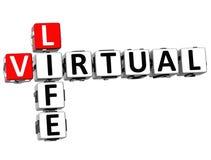 palavras virtuais do cubo das palavras cruzadas da vida 3D Foto de Stock