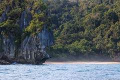 Palawan beach, by the Undergorund River, Philippines Royalty Free Stock Photos
