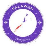 Palawan circular patriotic badge. Grunge rubber stamp with island flag, map and name written along circle border, vector illustration Stock Images
