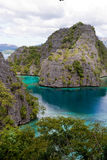 Palawan lagoon 1. Landscape scenery of rock formations and a lagoon at Palawan, Philippines royalty free stock photo