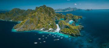 Palawan, Philippines aerial panorama natural scenery of tropical Miniloc island with Big and Small lagoon. El Nido. Marine Reserve Park tour A stock photos