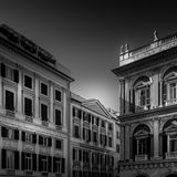 Palazzi in Genova. Black and white photo of some buildings in Genova Stock Photography