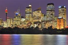 Palazzi multipiani luminosi di fine della città di RBG Immagini Stock Libere da Diritti