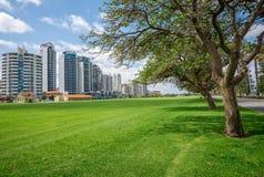 Palazzine di appartamenti orientali di vista del fiume di Perth sulla strada e su Langl del terrazzo Immagini Stock