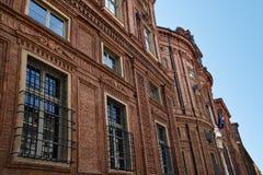 Palazzo卡里尼亚诺,都灵,意大利细节  免版税库存照片
