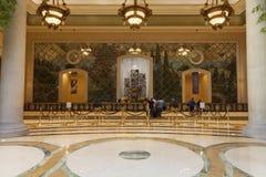 Palazzo旅馆客人注册地区在拉斯维加斯, 8月的NV 库存照片