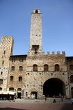Palazzo波德斯塔在圣Gimignano (意大利) 免版税库存照片