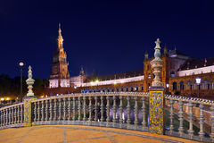 Palazzo al quadrato spagnolo a Sevilla Spagna Fotografie Stock Libere da Diritti