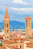 Palazzo Bargello Tower and Badia Fiorentina Belltower Royalty Free Stock Photos