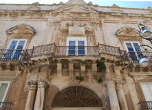 Palazzo Beneventano, Ragusa, Sicily. One of the most representative Sicilian baroque style palazzo in Ortigia, the Syracuse old town Stock Photo