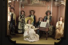 One of the puppet`s display in Palazzo Borromeo. The Palazzo Borromeo on Isola Bella in Stresa has a beautiful display of the puppets used for the Puppets Stock Images