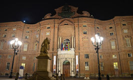 Palazzo Carignano in Turin at night Stock Photos