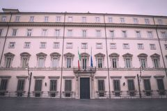 Palazzo Chigi in Rome. View of the facade of the Palazzo Chigi, seat of the Italian Government in Rome, Italy Royalty Free Stock Image