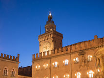 Palazzo communale at night in Bologna, Italy Stock Photography