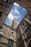 Palazzo Comunale Courtyard with Torre del Mangia in Siena Stock Photo