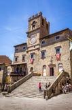 Palazzo Comunale historisk byggnad i Cortona, Italien arkivfoto