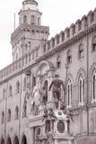 Palazzo Comunale Palace and Neptune, Fountain - Fontana del Nettuno, Bologna. Italy in Black and White Sepia Tone stock photography