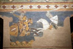 Palazzo Comunale, San Gimignano, Tuscany, Italy. Fresco at the Palazzo Comunale, Town hall, San Gimignano, Tuscany, Italy. Councing room, also known as Sala stock photography