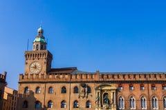 Palazzo d'Accursio (或Palazzo Comunale),波隆纳,意大利 免版税库存照片