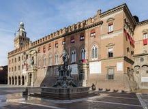 Palazzo-d'Accursio im Marktplatz Maggiore von Bologna, Italien Stockfoto
