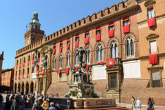 Palazzo D'Accursio and Neptune Fountain in Bologna, Italy Royalty Free Stock Images