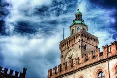 Palazzo d'Accursio tower close up Stock Photo