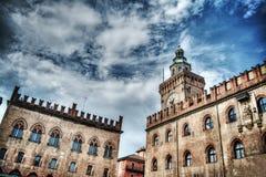 Palazzo-d'Accursio und Palazzo-dei notai im Bologna im hdr Stockbild