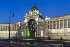 Palazzo degli agricoltori - Ministero dell'ambiente e dell'agricoltura Quadrato del palazzo a Kazan, Repubblica di Tatarstan, Rus Fotografie Stock Libere da Diritti