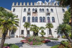 Palazzo dei Capitani Palace of the captains on the shore of lake Garda, Malcesine Italy. royalty free stock photos
