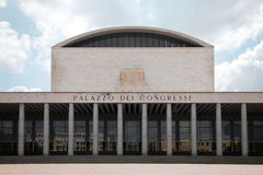 Palazzo dei Congressi. Frontal view of the old Congress Palace in Eur district of Rome Stock Photos
