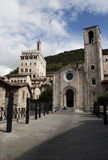 Palazzo dei consoli and church in Gubbio, Umbria Royalty Free Stock Photography