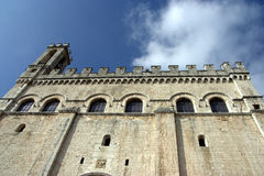 Palazzo dei Consoli, Gubbio. Here are guarded the ceri and efiges of the saint. At twelve o'clock the raising of the ceri takes place in front of this medieval Stock Image