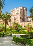 Palazzo dei Normanni Palace of the Normans or Royal Palace of Palermo. Sicily, southern Italy. The Palazzo dei Normanni Palace of the Normans or Royal Palace of stock photos