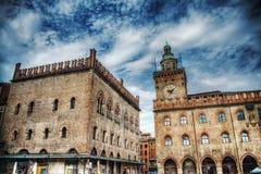Palazzo-dei Notai und Palazzo-d'Accursio im Bologna, Lizenzfreies Stockfoto