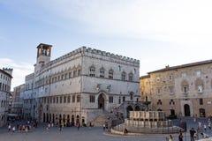 Palazzo dei Priori Maggiore i Perugia Fontana fotografia stock