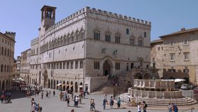 Palazzo dei Priori palace and fountain in Perugia, Umbria, Italy stock video footage