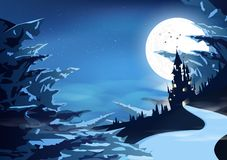 Palazzo del castello in mistico dell'illustrazione artica di vettore del fondo dell'estratto di fantasia della siluetta del paesa royalty illustrazione gratis