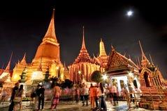 Palazzo del kaew di pra di Wat grande alla notte Bangkok Immagine Stock