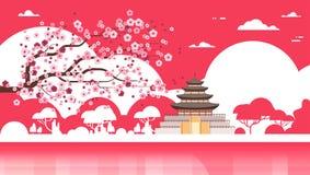 Palazzo del manifesto della siluetta del tempio della Corea sopra la vista del punto di riferimento di Sakura Trees South Korean  royalty illustrazione gratis