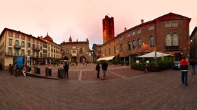 Palazzo del Podesta in old town, Bergamo, Italy. Panorama sunset Royalty Free Stock Photography