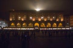 Palazzo del Podesta at Piazza Maggiore by night. Bologna. Emilia-Romagna region. Italy. Royalty Free Stock Photo