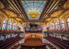 Palazzo dell'interno catalano di musica Fotografia Stock