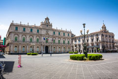 Palazzo dell'Universita,卡塔尼亚,西西里岛市中心 免版税库存照片