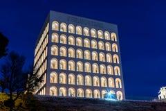Palazzo della CiviltàItaliana,亦称方形的罗马斗兽场,罗马, 免版税图库摄影