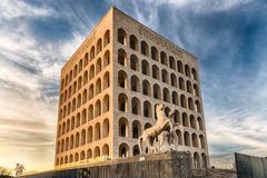 Palazzo-della CiviltàItaliana, aka Vierkante Colosseum, Rome, Royalty-vrije Stock Foto