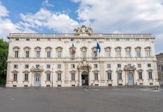 The Palazzo della Consulta in the center of Rome. The Palazzo della Consulta at Piazza del Quirinale in the center of Rome, Italy. It was built in 1732-1735 in stock photography