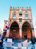 Palazzo della Mercanzia of Bologna, Italy. Also called Loggia dei Mercanti and Palazzo del Carrobbio, overlooking square. With French occupation it became Royalty Free Stock Photos
