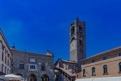 Palazzo della Ragione and Campanone tower in Bergamo, Italy. Palazzo della Ragione and Campanone tower in the old square in the upper city of Bergamo, Italy stock photography