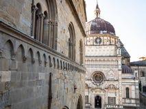 Palazzo della Ragione and Cappella Colleoni. Travel to Italy - wall of Palazzo della Ragione and view of Cappella Colleoni on Piazza Duomo in Citta Alta (Upper royalty free stock photos