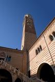 Palazzo della Ragione e Torre dei Lamberti -维罗纳意大利 库存图片
